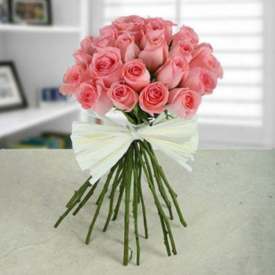 Elegant Pink rose hand tied Bouquet from JuneFlowers.com