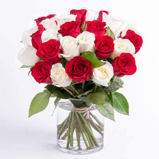 Romantic red and white roses in a cylindrical vase from JuneFlowers.com