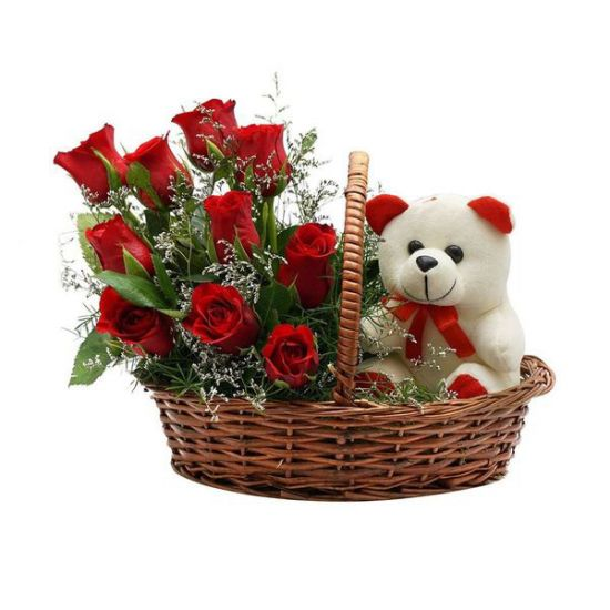 Colourful Red Roses with Teddy bear in a basket from juneflowers.com