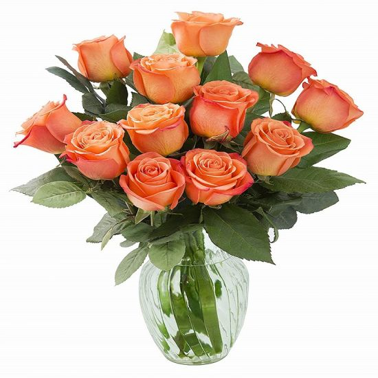 Warmful orange roses in a vase from JuneFlowers.com