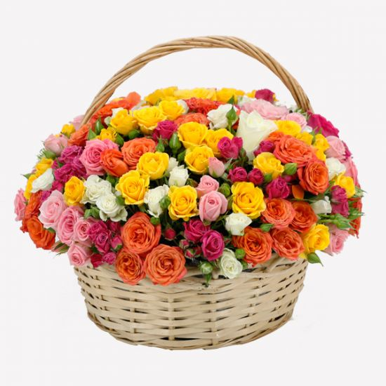 Basket of Colourful  Roses