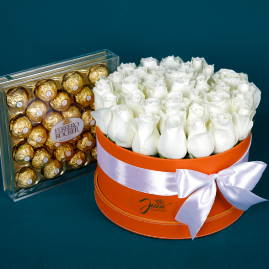 Box of Pure White Roses and Ferrero Rocher Chocolates