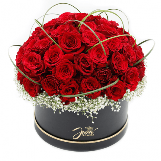 Red roses in a black basket from JuneFlowers.com
