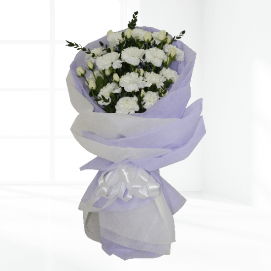 Peaceful white carnation hand Bouquet from JuneFlowers.com