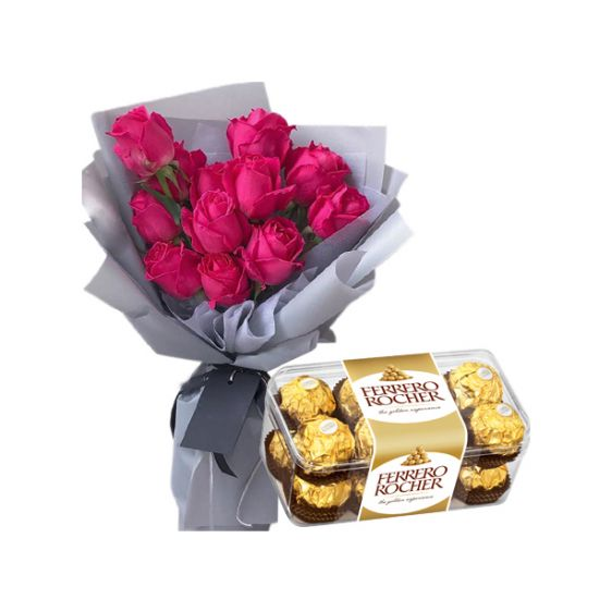 12 Red Roses Bouquet with 16 Ferrero Rocher Box
