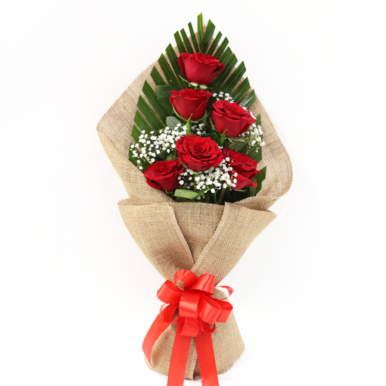 Hand Bouquet of Exquisite Red Roses JuneFlowers.com