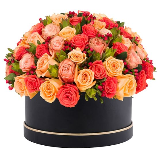 Warm Orange, Peach, Light Pink Roses with Black Round Box from JuneFlowers.com