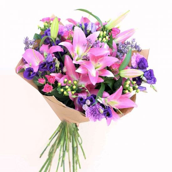 Bouquet of Lavish Pink Lilly and Lisianthus