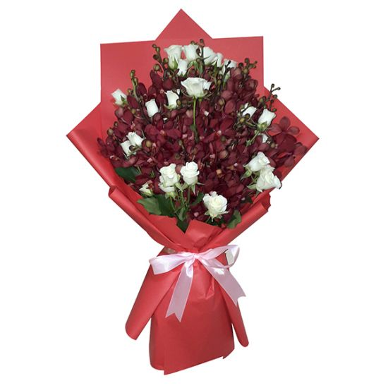 Bouquet of Red Orchid With Spray Rose