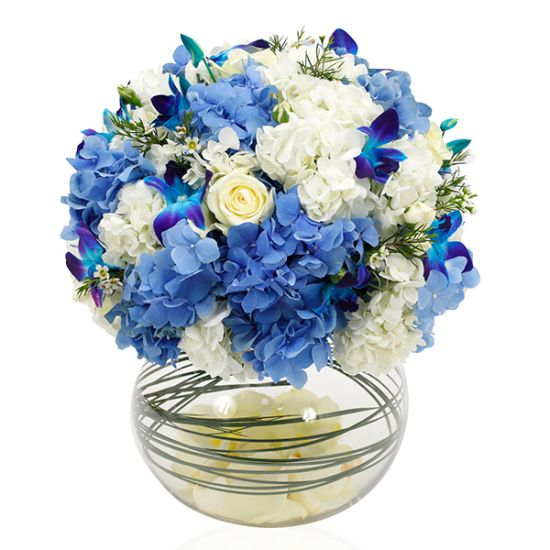 Dazzling Hydrangea with Orchid in Fish Bowl