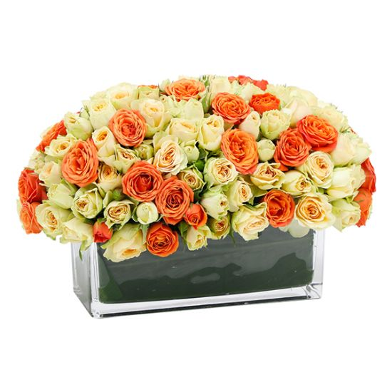Royal Arrangement with Peach and Orange Rose