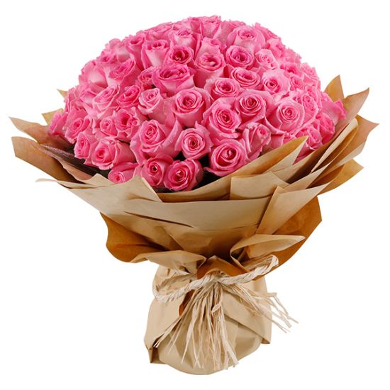 Beautiful pink roses hand tied bouquet from JuneFlowers.com
