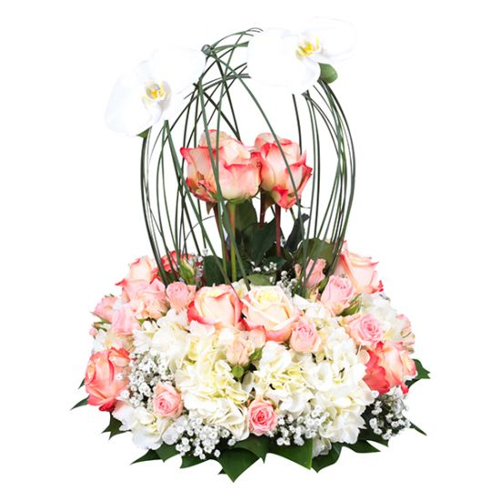 Glorious Arrangment with Rose and Orchid