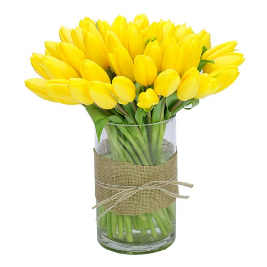 Yellow tulips in a vase from