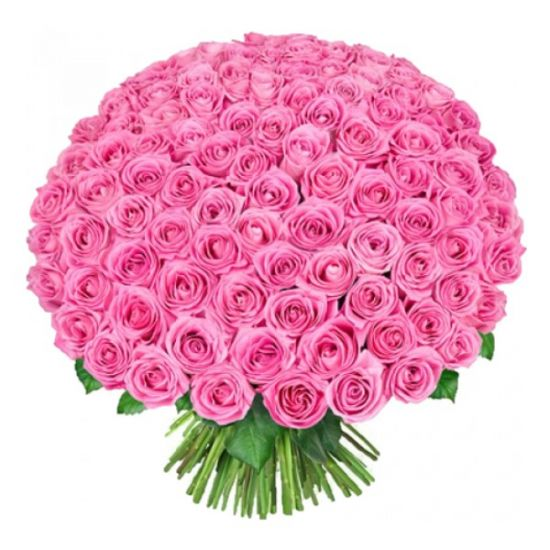 100 Pink Roses with Hand Tied Bouquet