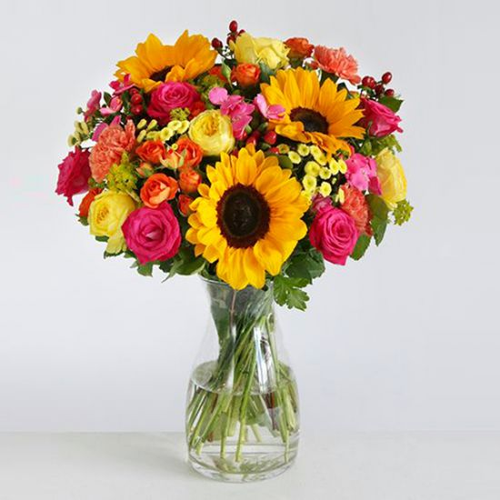 Sunflowers with Mix Flowers in Vase