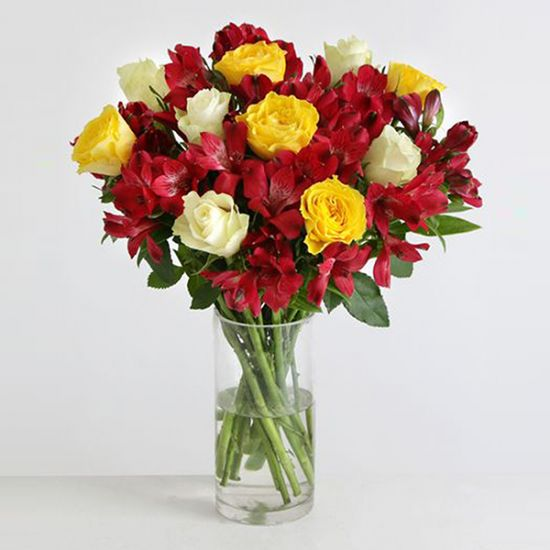 Red and Yellow Roses with Red Alstromeria