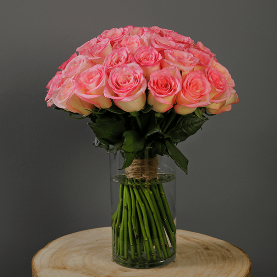 pink rose in glass vase