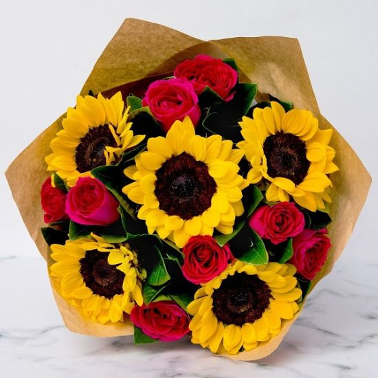 5 Stem Sunflowers with roses