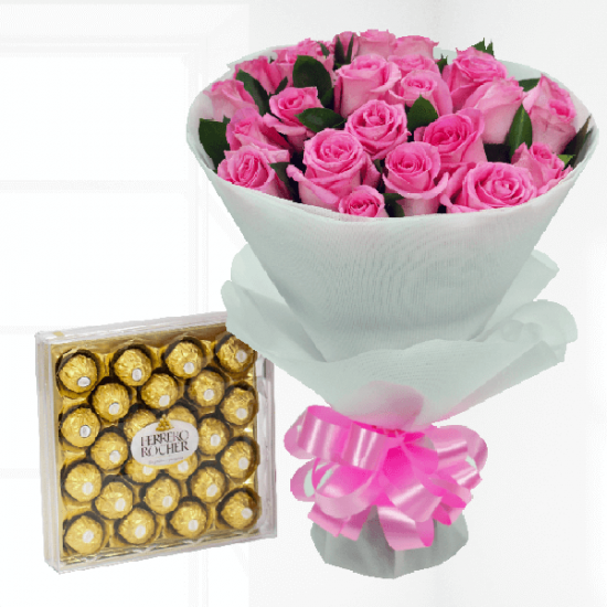 Rose bouquet with ferrero rocher chocolate