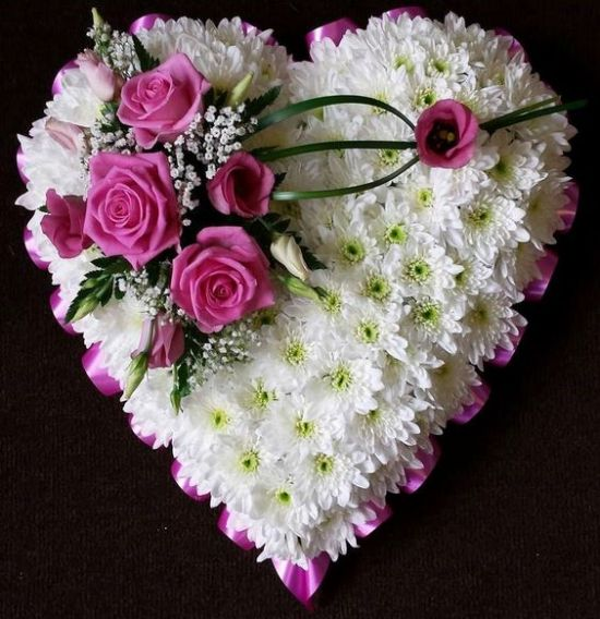Heart shape Chrysanthemum flowers with purple roses from juneflowers.com