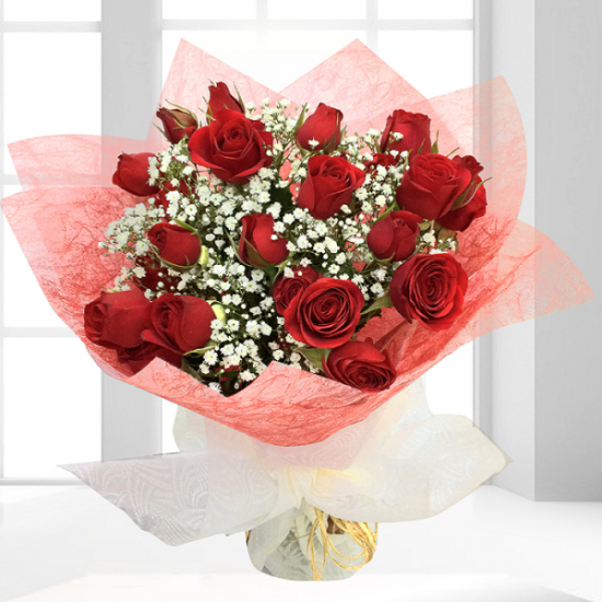 Beautiful 15 Red roses with baby's breath for your love from JuneFlowers.com