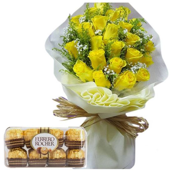 12 Yellow Rose Bouquet w/ 16 Ferrero Rocher Box