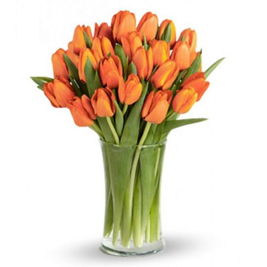Orange Tulips in a glass from  JuneFlowers.com