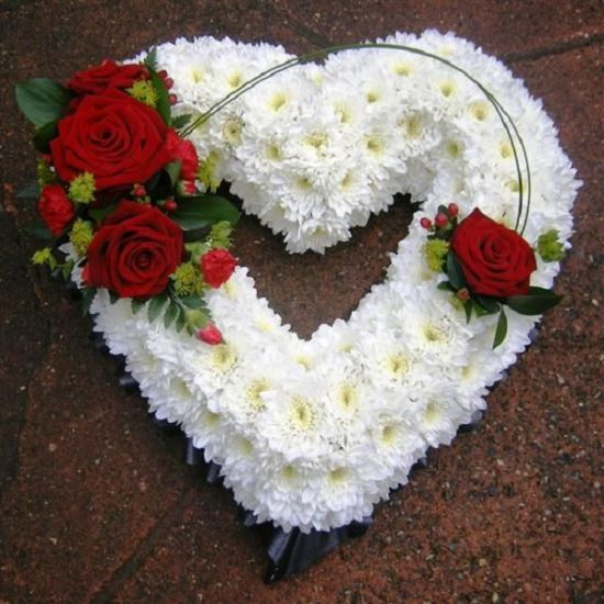 white chrysanthemum in a heart shape with amazing red roses in a june Flowers.com