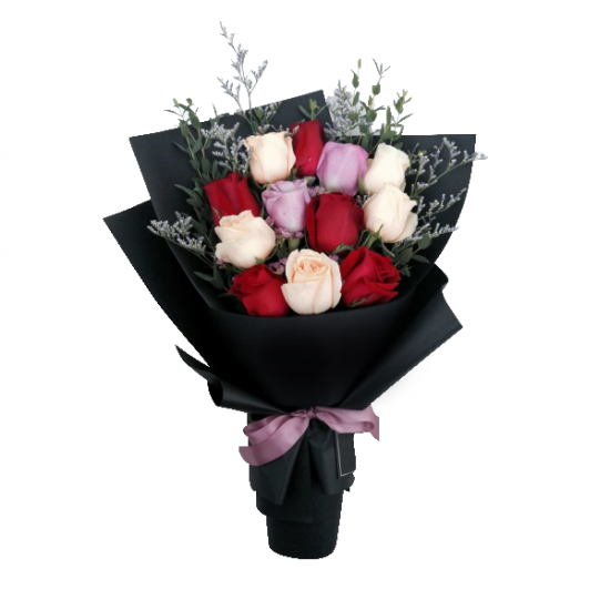 Combination of red, peach and purple flower in this charming bouquet from JuneFlowers.com