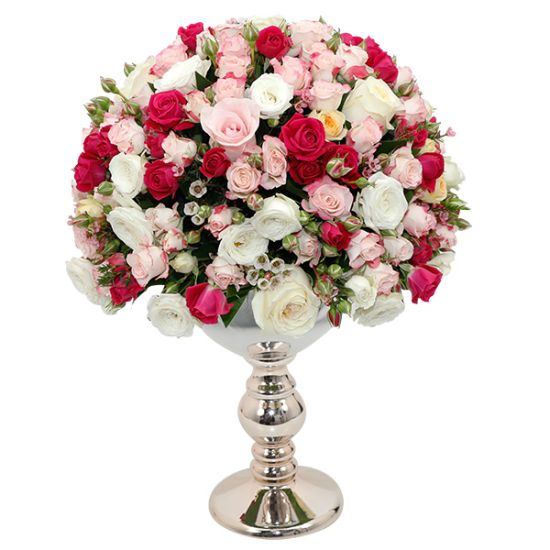 Gorgeous Pink Roses with Luxury Centerpiece
