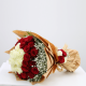 Attractive white and Red roses wrapping by a white sheet from JuneFlowers.com
