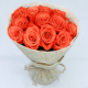 Beautiful Orange roses in a white wrapping from JuneFlowers.com